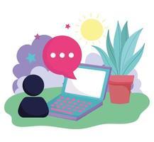 smartphone avatar speech bubble social media vector