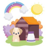dog sitting in house with food package pets vector