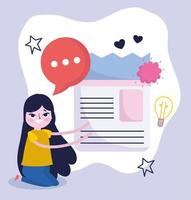 young woman light bulb creativity idea talk vector