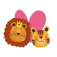 Cute dibujos animados animales adorables caras tigre y león con corona vector
