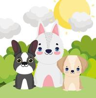 little dogs sitting canine cartoon outdoor pets vector