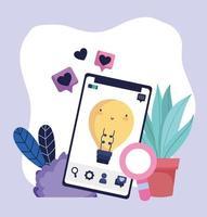 smartphone speech bubble love magnifier social media