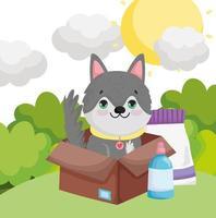 perro en caja con paquete de comida paisaje mascotas vector