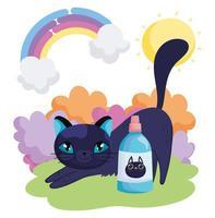 lindo gato estirando dibujos animados con botella veterinaria escena de arco iris mascotas vector