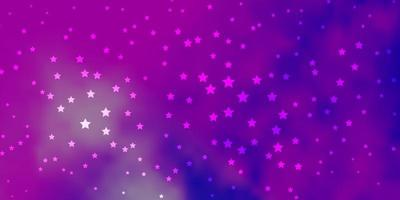 plantilla de vector de color rosa oscuro, azul con estrellas de neón.