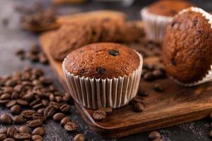 cupcakes de plátano con granos de café