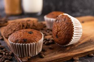 Banana cupcakes with coffee beans