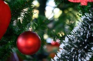 Close-up of a red Christmas tree ornament