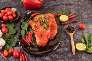 Marinated pork with chili peppers