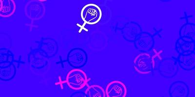 Light Pink, Blue vector background with woman symbols.