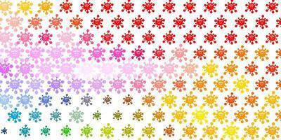 Fondo de vector multicolor claro con símbolos covid-19.