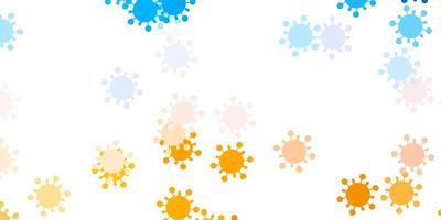 patrón de vector azul claro, amarillo con elementos de coronavirus.