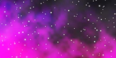 Dark Purple, Pink vector background with colorful stars.