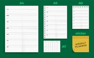 Set of crumpled four standard blank weekly planner series set vector