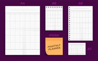 Set of crumpled four standard blank monthly planner set vector
