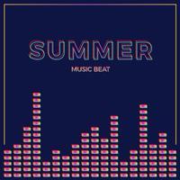 fiesta de verano ola digital de sonido, borde colorido simple vector