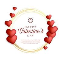 Lovely gold outline frame or border with hearts vector