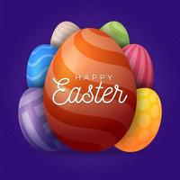 Greeting card with Easter eggs vector