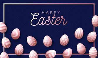 Easter holiday background with rose gold 3d Easter texture eggs vector