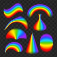 Rainbows in different shape realistic set vector