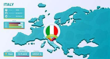 mapa isométrico de europa con el país destacado italia vector