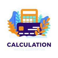 calculadora y tarjeta de crédito vector stock ilustración