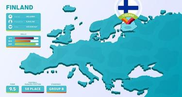 Isometric map of Europe with highlighted country Finland vector