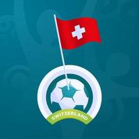 Switzerland vector flag pinned to a soccer ball
