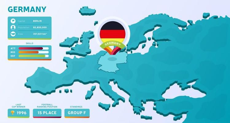 Isometric Map Of Europe With Highlighted Country Germany Download Free Vectors Clipart Graphics Vector Art
