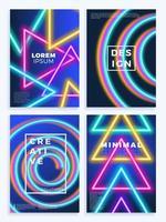 Neon poster, retro design, 80s Sci-Fi pattern set