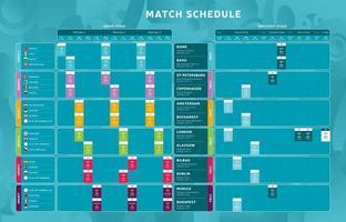 calendario de partidos de la etapa final del torneo de fútbol vector