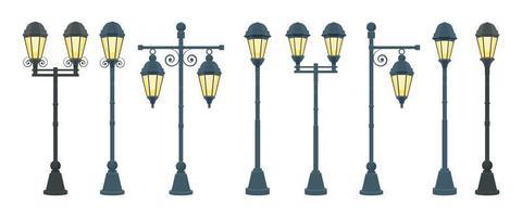 Vintage street lamp vector design illustration isolated on white background