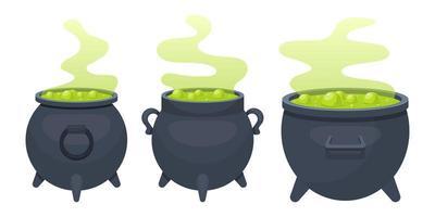 Witch cauldron set vector