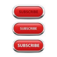 Ilustración de diseño de vector de botón de suscripción rojo aislado sobre fondo blanco