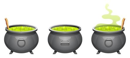 Witch cauldron set vector