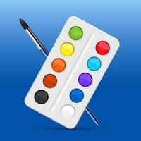 Watercolors tool set vector design illustration