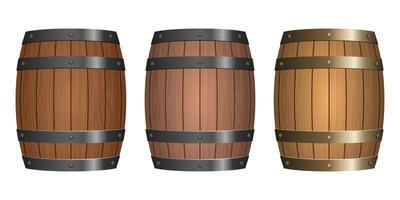 Ilustración de diseño de vector de barril de madera aislado sobre fondo blanco