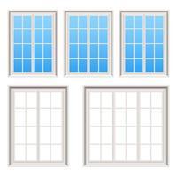 Retro wooden windows set vector