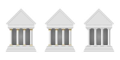 Ilustración de diseño de vector de templo antiguo aislado sobre fondo blanco