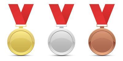 Winner medal set mock-up vector