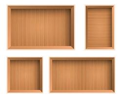 Wooden box top view set vector