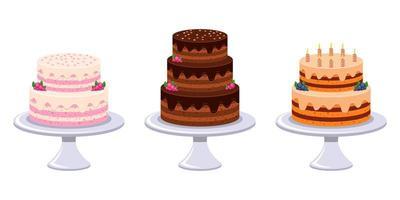 Birthday cake set vector