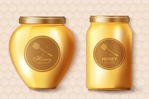 tarros de miel maqueta realista. diseño de etiquetas de colocación de productos. ilustración 3d detallada