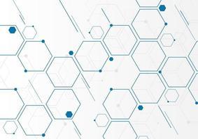 Estructuras moleculares de hexágonos geométricos azules abstractos sobre fondo blanco