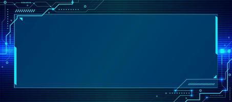 Tecnología azul abstracta geométrica y sistema de conexión fondo de circuito electrónico vector