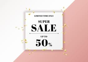 Sale banner pink background and gold ribbon elements with white square frame space for your text. vector