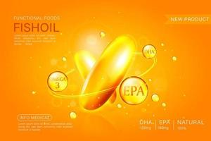 Fish oil ads template, omega-3 softgel isolated on chrome yellow background. 3D illustration. vector