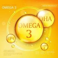 Fish oil ads template, omega-3 softgel with its package. Orange background. 3D illustration. vector