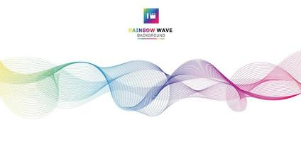 Abstract rainbow wave lines flowing on white background. vector