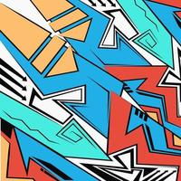 Abstract geometric futuristic bright background, Graffiti drawing style vector